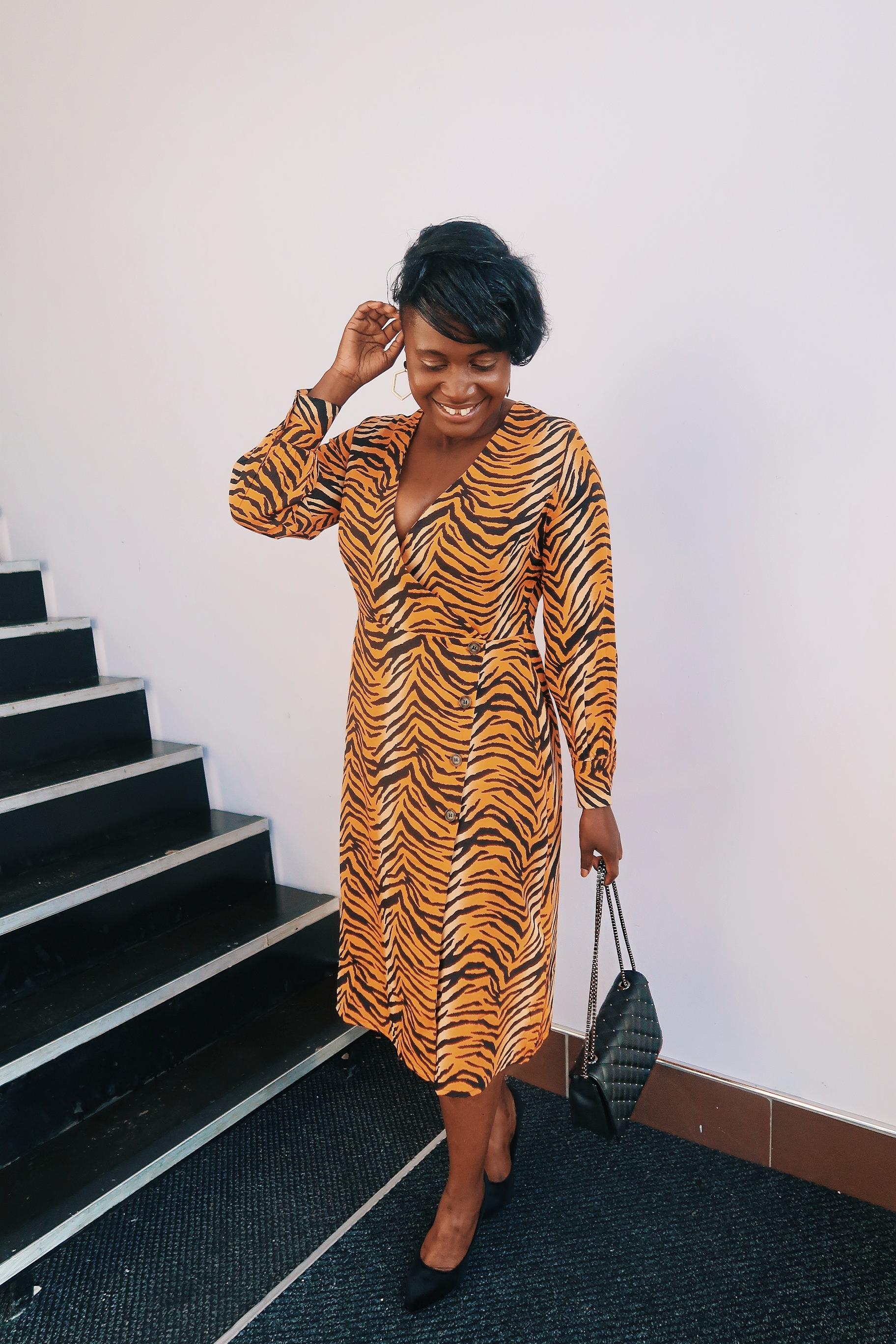 wrap animal print dress